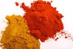 Poudre de paprika et de poivre Image stock