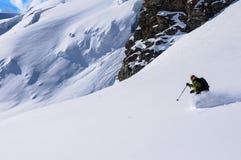Poudre de ski en Italie Photographie stock libre de droits