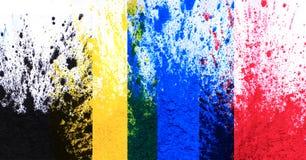Poudre de toner de Cmyk et x28 ; cyan, magenta, jaune, black& x29 ; photographie stock