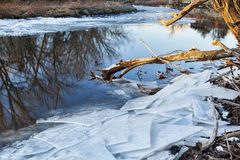 Poudre River with icy shores Stock Photography