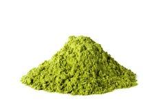 Poudre verte de thé de matcha photographie stock libre de droits