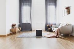 Pouf в яркой живущей комнате стоковые изображения rf