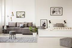 Pouf e panchetto modellati su tappeto nell'interno dell'appartamento con il co Immagine Stock