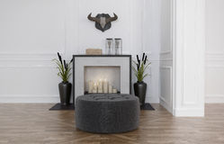 Pouffe in front of a fireplace Stock Photos