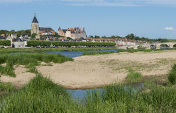 Pouilly lez Gien. Near the Loire with old Roman bridge in France Royalty Free Stock Images