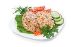 Poule avec du riz Image stock