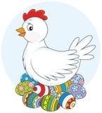 Poule et oeufs de pâques Photographie stock libre de droits