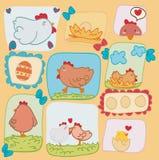 Poules drôles heureuses de carte de Pâques Photographie stock