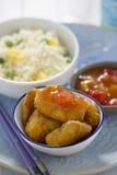 Poulet aigre doux avec du riz image stock