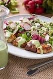 Poulet avec de la salade photographie stock