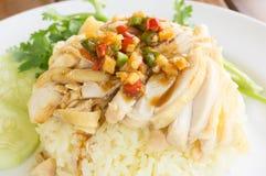 Poulet avec du riz Photographie stock