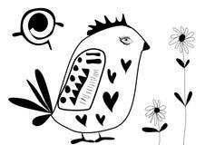 Poulet avec l'illustration de vecteur de fleurs Photos stock