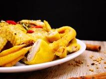 Poulet bouilli avec de la sauce blanche Photo libre de droits