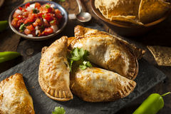 Poulet bourré fait maison Empanadas Photographie stock libre de droits