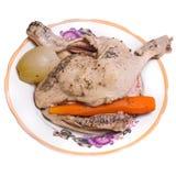 Poulet, carotte et oignon bouillis Images libres de droits
