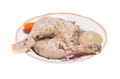 Poulet, carottes et oignon bouillis Image libre de droits