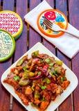 Poulet chaud et savoureux de style chinois - image prise d'en haut Photo stock