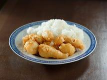Poulet chinois cuit à la friteuse avec du riz Photographie stock libre de droits
