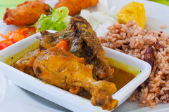 Poulet colombo, chicken recipe of Caribbean islands stock image