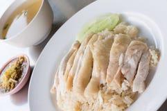 Poulet cuit à la vapeur avec du riz Images stock