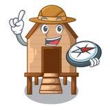 Poulet d'explorateur dans a sur la cage de charater illustration libre de droits