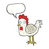 poulet de bande dessinée avec la bulle de la parole Photo stock