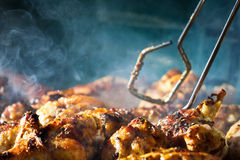 Poulet de barbecue avec des cherbs sur le gril Photographie stock libre de droits
