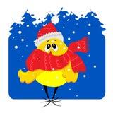 Poulet de chéri sur l'illustration neigeuse de fond Images stock
