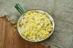 Poulet de fromage Alfredo Pasta Bake image stock