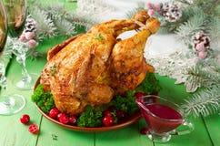 Poulet de Noël avec de la sauce à la canneberge Image libre de droits