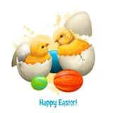 Poulet de Pâques avec des oeufs de vacances d'isolement sur le blanc Petit symbole traditionnel de poule du christianisme Joyeuse Photographie stock