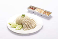 Poulet de vapeur avec du riz images libres de droits