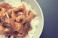 Poulet doux et aigre avec du riz Photographie stock