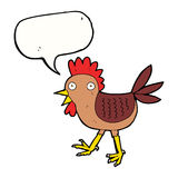 poulet drôle de bande dessinée avec la bulle de la parole Photographie stock