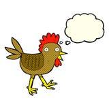 poulet drôle de bande dessinée avec la bulle de pensée Images libres de droits