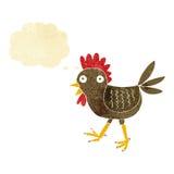 poulet drôle de bande dessinée avec la bulle de pensée Photographie stock