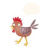 poulet drôle de bande dessinée avec la bulle de pensée Images stock