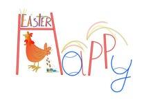 Poulet drôle de Pâques Images libres de droits