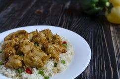 Poulet en sauce aigre-doux et riz avec des légumes sur un espace noir et blanc de Kopi de fond de plat blanc images stock