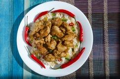 Poulet en sauce aigre-doux et riz avec les légumes et le poivre sur un fond blanc de plat de deux couleurs photographie stock libre de droits