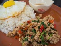 Poulet et oeuf au plat sur le plat de basilic avec du riz photo stock