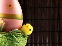 Poulet et oeufs de Pâques dans le nid Image stock