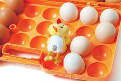 Poulet et oeufs jaunes de poulet dans le plateau en plastique Photos stock