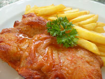 Poulet et pommes frites cuits au four par Mexicain III Photo stock