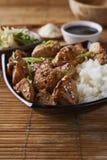 Poulet et riz dans le style asiatique photos stock