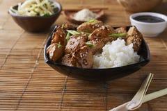 Poulet et riz dans le style asiatique photo libre de droits