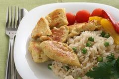 Poulet frit avec du riz Photographie stock libre de droits