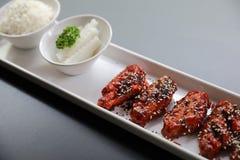 Poulet frit coréen avec du riz photographie stock libre de droits