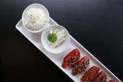 Poulet frit coréen avec du riz photographie stock