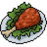 Poulet frit d'art de pixel de vecteur Images stock